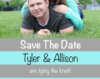 Save The Date- Custom Photo stripes wedding save the date