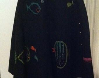 Whimsical 1950s felt cross stitch fish skirt