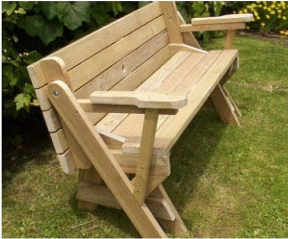 Plans for a bench that folds into a picnic table in pdf for Folding table plans free