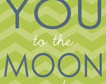Boy Nursery Print, Love you to the moon, Boy Nursery Home Decor, Nursery Art by Jennifer McCully