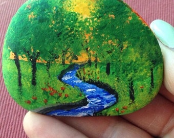 Hand Painted Planter Stone - FREE Shipping