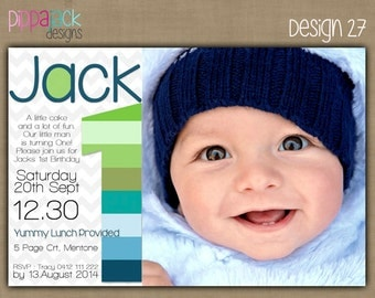Personalised Boy 1st Birthday Invitations