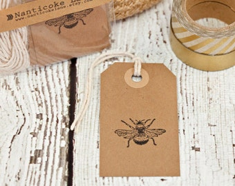 Vintage Bee Tags - set of 10, bee, gifts tags, kraft tags, paper supplies, paper goods, bee tags