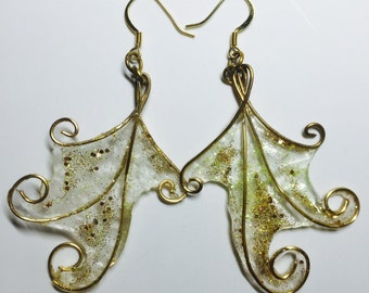 Realistic Fairy Wing Earrings made with wire wrap and durable resins.