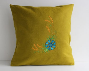 Mustard Green Pillow Cover, Throw Pillow 16x16 inch, Decorative Pillow, Fleece Shams with Cornflower Embroidery, Handmade Cottage Cushion