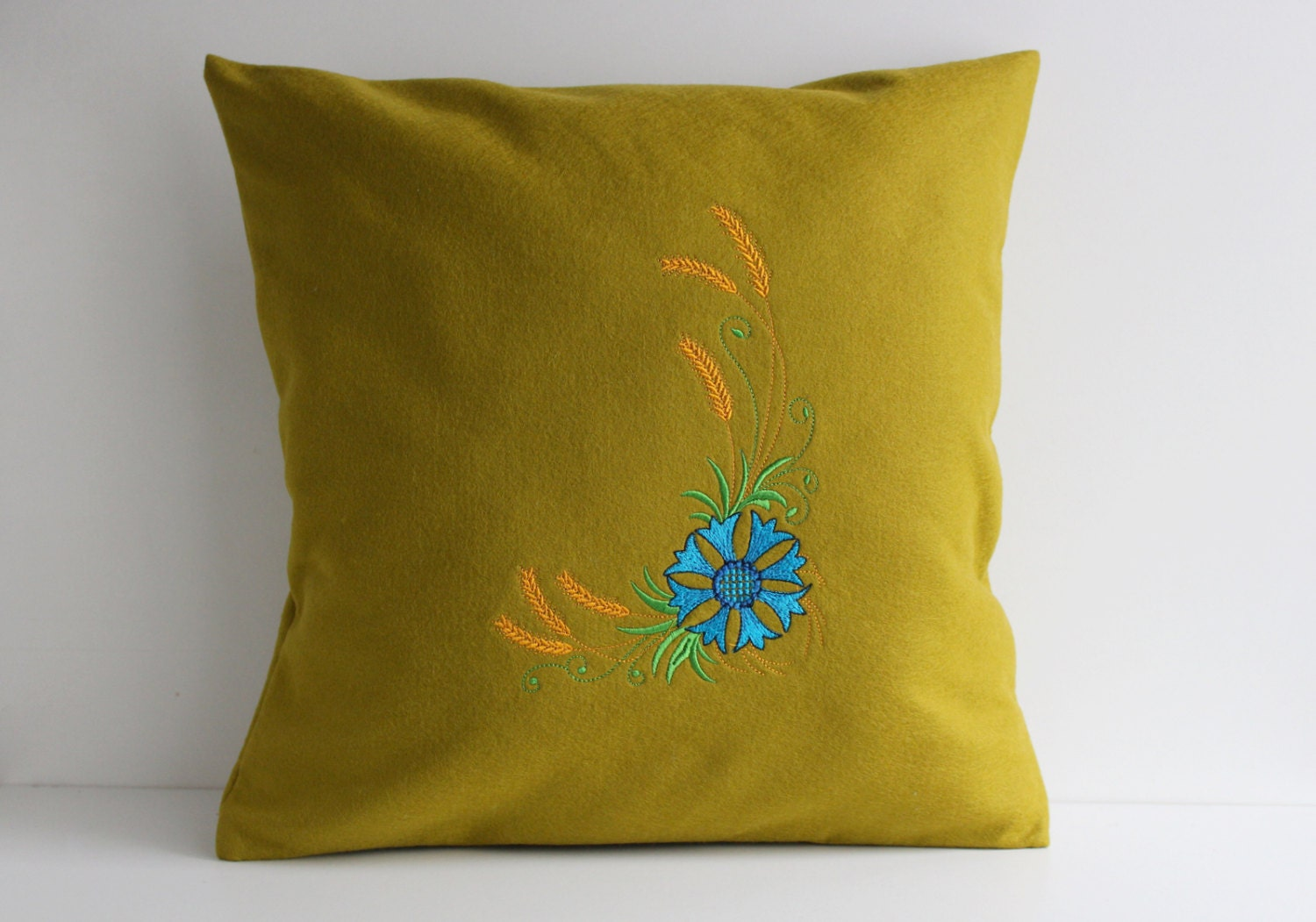 Mustard Throw Pillow Covers : Mustard Green Pillow Cover Throw Pillow 16x16 inch
