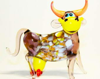 Glass figurine Cow pleased handmade #495