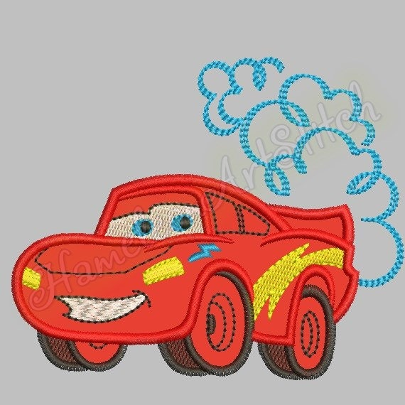 Lightning McQueen Machine Embroidery Applique By
