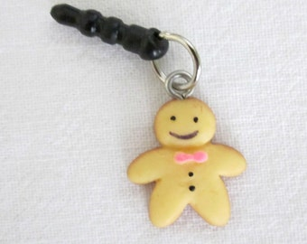 Gingerbread Man Mobile Phone Dust Plug Charm