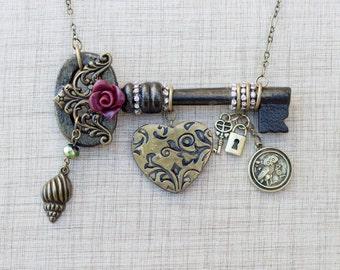 Key necklace, heart charm necklace,