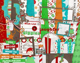 """Christmas Digital Scrapbook Kit - """"Holiday Giggles"""" digital papers and elements with elf, stockings and christmas tree for scrapbook layouts"""