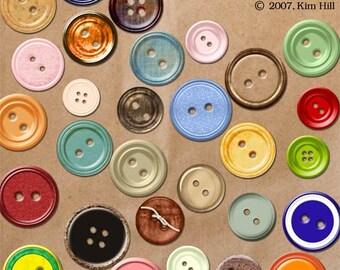 "Buttons Scrapbook Elements - ""Bag of Buttons"" digital elements for scrapbook layouts - red button, blue button, green button, orange button"