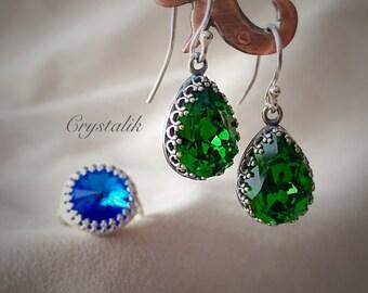 Green Emerald Clover Leaf Dangle Antique Sterling Silver 925 Earrings Idea Birthday Sterling Silver Jewelry Bohemian Silver Earrings