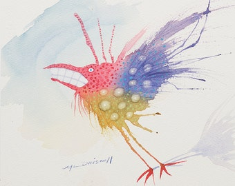 "Original Watercolor  ""Cheese?"" Fantasy bird fantastic colorful"
