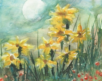 Spring Moon Flowers in the Moonlight Magical Fantasy print of my Original watercolor