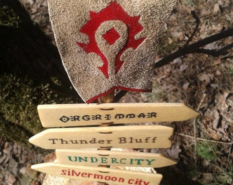 World of Warcraft road sign  HORDE wooden original quartz crystals waymark