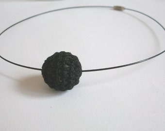 Bead crochet necklace collar Choker black