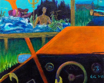 Frontseat - Acrylic Painting, Abstract Painting, Outsider Art, Surreal Painting, Skateboard Art, Giclee Print