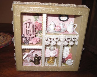 Shabby Chic Shadow Box with real gold