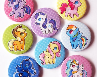 8 My Little Pony pin back badges, Mane Six, Luna and celestia
