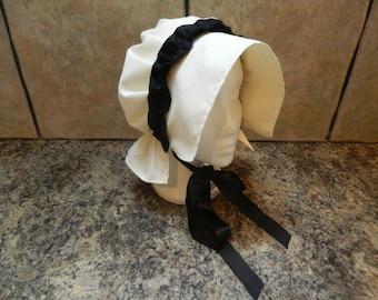 Ladies cream victorian, gentry, regency, theatrical bonnet/coif hat