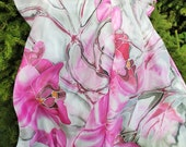 Pink silk scarf, hand painted pure silk scarf Pink Orchids scarf, large silk shawl wrap, pink grey beach sarong, elegant luxury gift for her