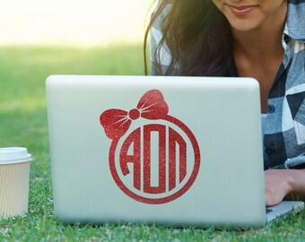 AOII Alpha Omicron Pi Bow Monogram Decal Sorority Decal Laptop Sticker Car Decal