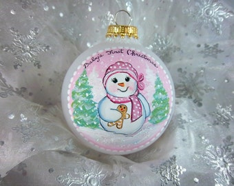 Baby Girl's First Christmas Ornament, Snowbaby, Pink, Pine Trees, Snow, Hand-Painted, Christmas Keepsake