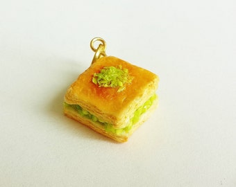 Handmade Baklava with Pistachio Charm - Polymer Clay Charm - Miniature Food Jewelry