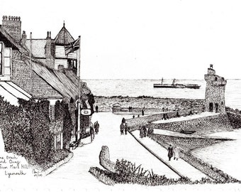 Lynmouth Devon around 1940  Pen and ink Giclee Print  on  Bockingford paper