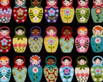 Dolled Up Tula Fabric - Russian stacking dolls - sold by the yard