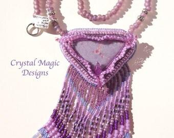 Lepidolite with pink tourmaline beaded pendant with big fringe