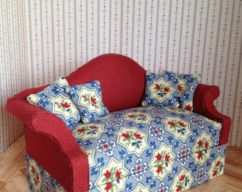 1:12 scale Miniature Dolls House Upholstered Sofa