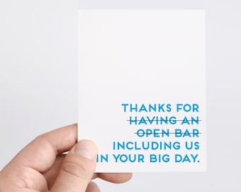 Wedding Card | Funny Wedding Card | Wedding Open Bar | Wedding Big Day