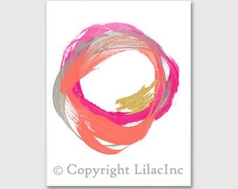 Abstract Circles Printable Art, Pink Coral Grey Sparkle Wall Art, Geometric Art, Modern Glamour Decor, Office Wall Art, Abstract Art