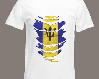 Barbados Flag T-Shirt  see Muscles through Ripped T-Shirt in all sizes
