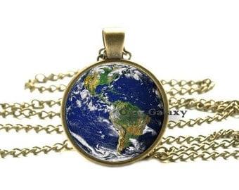 Earth Globe Pendant, Planet Jewelry