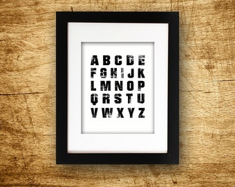 Grunge Black and White Alphabet Printable Wall Art Instant Download ABC Digital Download Typography Type Printable Poster