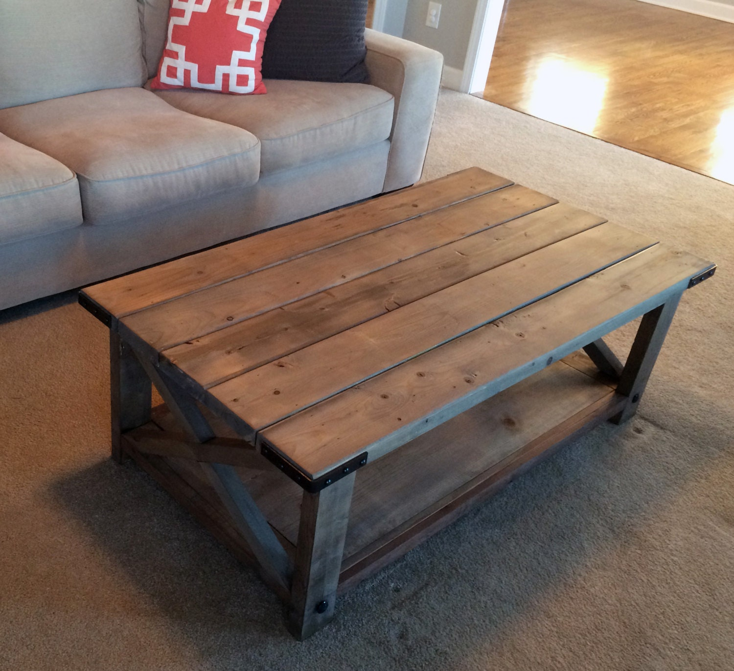 Farmhouse coffee table weathered by thechicnshabbybean on etsy for Modern farmhouse coffee table