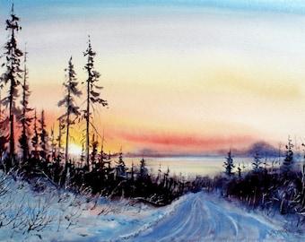 Alaska Sunset 15.5 x 21
