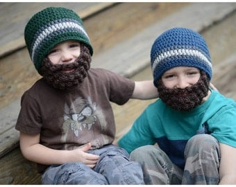 Bearded Crochet Hats, Beardy, Wool Boys Beanie,