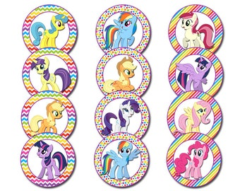 My Little Pony Cupcake Toppers, My Little Pony Party, Instant Download, Printable File