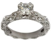 1 Carat Diamond Ring In 14k White Gold With A Victorian Ring Style And Milgrain
