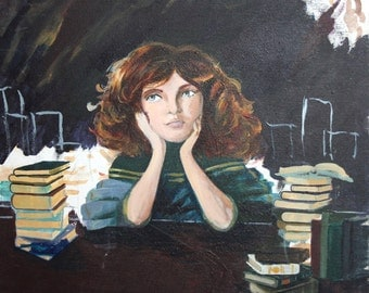 Contemporary realist girl reading books oil painting