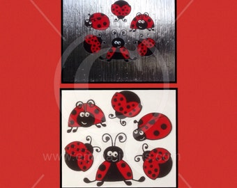 Ladybird Ladybug, window cling set suitable for glass & mirror surfaces, 6 reusable decals, faux stained glass static cling decal
