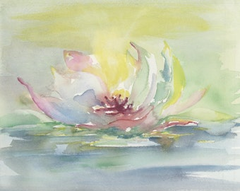 Water Lily-Print from original watercolor painting