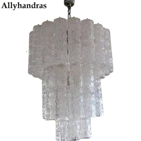lampadario venini : Items similar to MURANO Chandelier Venini Tronchi Tube Vintage Ceiling ...