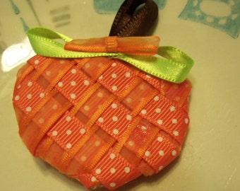 """2"""" weaved pumpkin hair clip"""