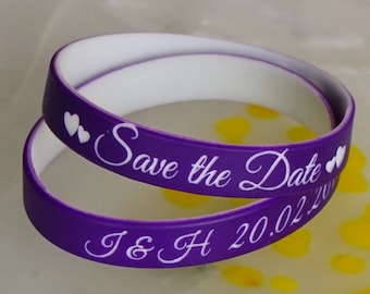 100 Custom silicone wristbands for special events - sport events, save the date.  Personalized silicone bracelets. Sport silicone wristbands