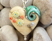 Sand and Sea Heart, handmade glass bead pendant, by Beach Art Glass in the UK